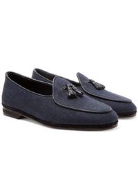 Rubinacci Marphy Leather And Suede Trimmed Herringbone Linen Tasselled Loafers