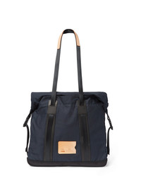 Bleu de Chauffe Barda Leather Trimmed Waxed Cotton Ripstop Tote Bag