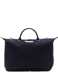 WANT Les Essentiels De La Vie Navy Beige Canvas Hartsfield Weekender Tote Bag