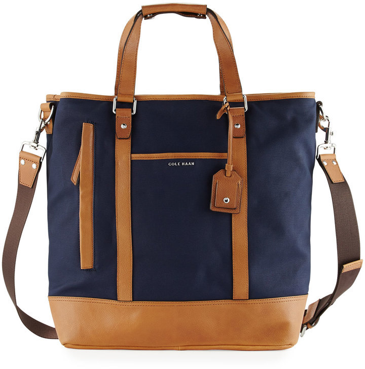 0ad7708de32 Cole Haan Leather Trim Canvas Tote Bag Navy, $245 | Last Call by ...