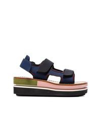 Marni Blue Contrast Sole Flatform Sandals