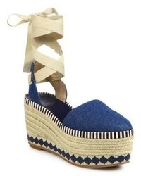 Tory Burch Dandy Denim Ankle Wrap Wedge Platform Espadrilles