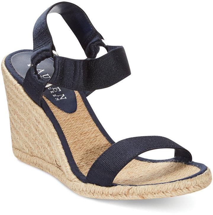 ralph lauren lauren by indigo espadrille wedge sandals - Ralph Lauren Indigo