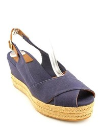 Tory Burch Mya Blue Canvas Wedge Sandals Shoes