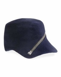 Philip Treacy Velour Baseball Cap W Oversized Zip Detail Navy