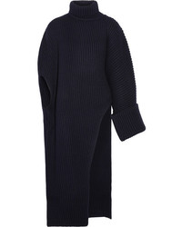 Jil Sander Asymmetric Oversized Wool Blend Turtleneck Sweater Midnight Blue