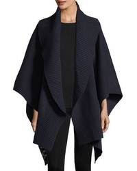 Cashmere wool ribbed poncho indigo medium 5207646