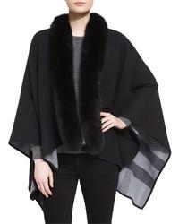 Fox fur trimmed merino cape medium 3995273