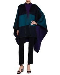 Reversible wool melton cape with leather trim navyturquoise medium 4106577