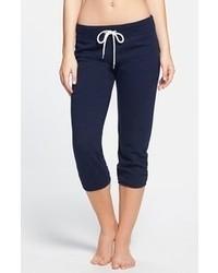 Monrow Vintage Heather Fleece Three Quarter Sweatpants Navy Large