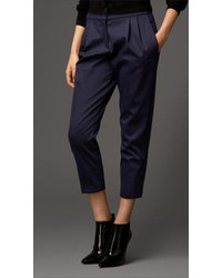 Burberry Satin High Waist Cropped Trousers