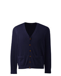 Lands' End Big Long Sleeve Modal V Neck Cardigan True Navy