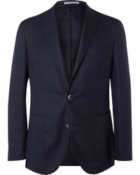 Boglioli Blue Slim Fit Wool Hopsack Blazer