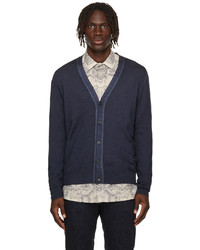 Etro Blue Wool Embroidered Pegaso Cardigan