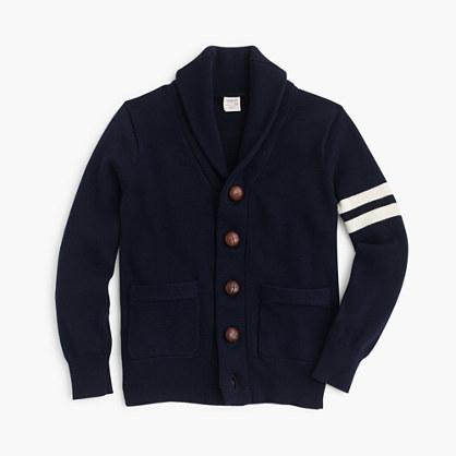 J.Crew Boys Shawl Collar Varsity Cardigan Sweater