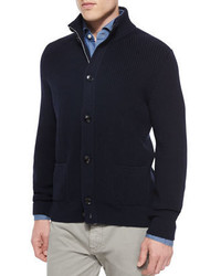 Ermenegildo Zegna Button Front Wool Cardigan Navy
