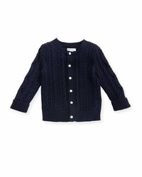 Ralph Lauren Childrenswear Soft Pearl Cotton Cable Knit Cardigan Navy 6 24 Months