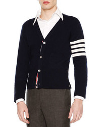 Classic v neck cashmere cardigan navy medium 643090