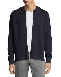 Neiman Marcus Collared Pique Wool Silk Cardigan