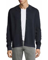 Neiman Marcus Collared Pique Wool Silk Cardigan