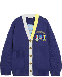Mira Mikati Embroidered Appliqud Wool Blend Cardigan Navy