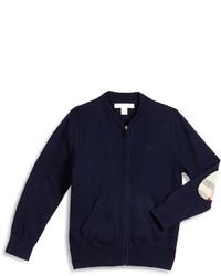 Burberry Jaxson Zip Front Cotton Cardigan Navy Size 4 14