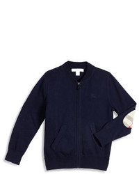 Burberry Jaxson Zip Front Cotton Cardigan Navy Size 4 14
