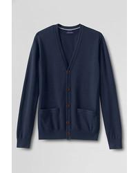 Lands' End Landsend Slim Fit Supima Cotton Cardigan Sweater Jewel Plum Stripel