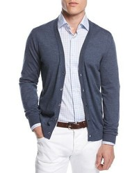 Isaia Merino Wool V Neck Cardigan Blue