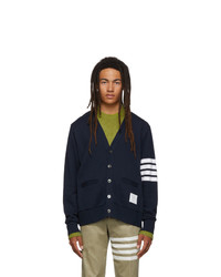 Thom Browne Navy Classic Loopback 4 Bar V Neck Cardigan