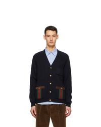 Gucci Navy Knit Wool Web Stripe Cardigan