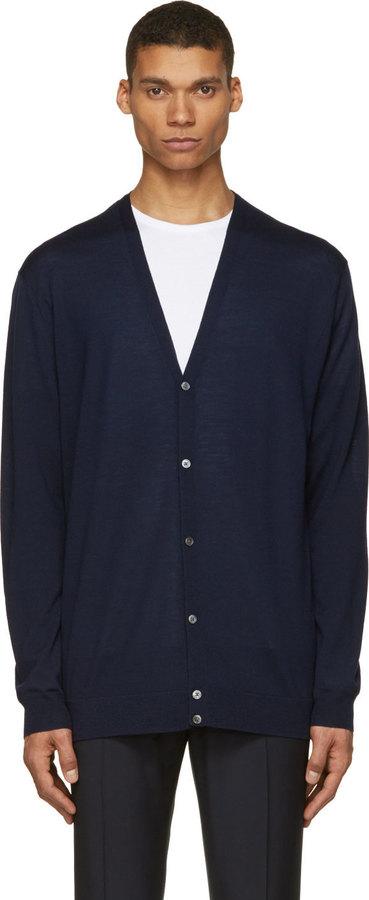 Acne Studios Navy Merino Wool Clissold Cardigan | Where to buy ...