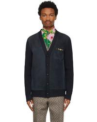 Gucci Navy Suede Wool Horsebit Cardigan