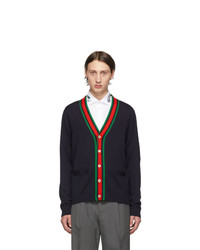 Gucci Navy Wool Web Stripe Cardigan