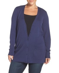 Sejour Ribbed V Neck Cardigan