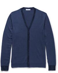 Etro Slim Fit Contrast Trimmed Wool Cardigan