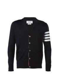 V neck cardigan with 4 bar stripe in navy blue merino medium 7140626