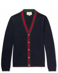 Gucci Webbing Trimmed Wool Cardigan