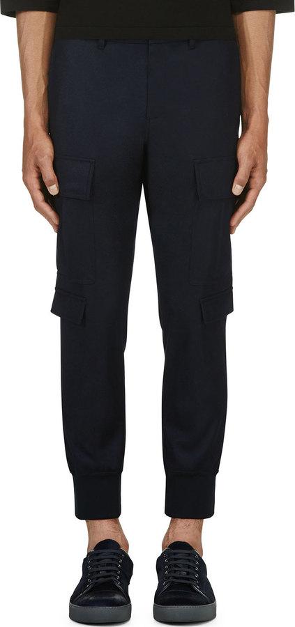 ... Neil Barrett Navy Skinny Cargo Trousers ...