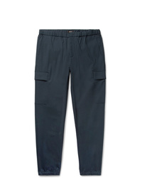 Theory Navy Slim Fit Tapered Stretch Wool Blend Trousers