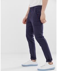ASOS DESIGN Skinny Cargo Trousers In Dark Blue