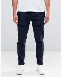 Asos Super Skinny Cargo Pants With Button Pockets In Navy