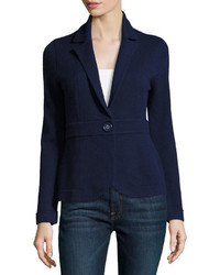 Neiman Marcus Cashmere Button Front Sweater Navy