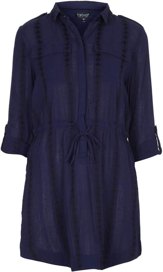 Topshop soft cotton blend shirt dress cut with a tie front for Soft cotton dress shirts