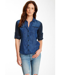 Cloth Stone Contrast Sleeve Chambray Shirt
