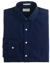 Albiate 1830 for ludlow spread collar shirt in indigo italian cotton medium 183136