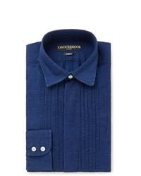 Favourbrook Indigo Bib Front Cotton And Linen Blend Shirt