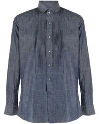 Tagliatore Pleated Denim Shirt