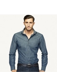 Navy Chambray Long Sleeve Shirt