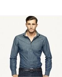 Navy Chambray Long Sleeve Shirt